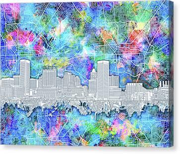 Baltimore Skyline Watercolor 14 Canvas Print by Bekim Art