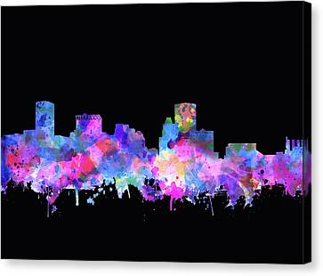 Maryland Canvas Print - Baltimore Skyline Watercolor 5 by Bekim Art