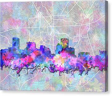 Baltimore Skyline Watercolor 6 Canvas Print by Bekim Art