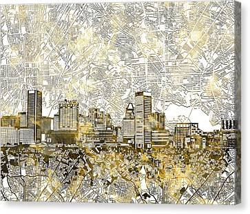 Canvas Print featuring the painting Baltimore Skyline Watercolor 8 by Bekim Art
