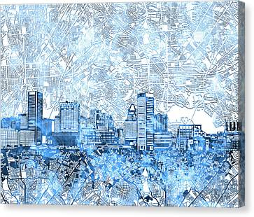 Canvas Print featuring the painting Baltimore Skyline Watercolor 9 by Bekim Art