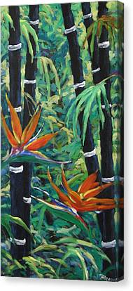 Bamboo And Birds Of Paradise Canvas Print by Richard T Pranke