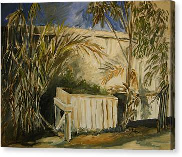 Bamboo Fence Canvas Print - Bamboo And Herb Garden by Julianne Felton