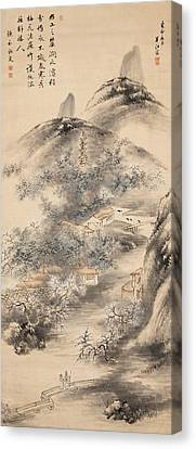 Bamboo And Plum In Early Spring Canvas Print