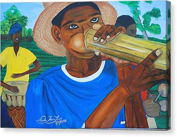 Canvas Print featuring the painting Bamboo Blower In Haiti Rara Festival by Nicole Jean-Louis