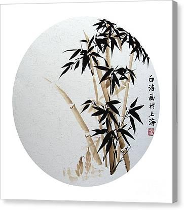 Bamboo - Braun - Round Canvas Print by Birgit Moldenhauer