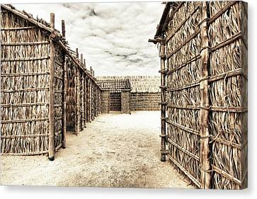 Bamboo House Canvas Print - Bamboo Houses In Bahrain by Den Lity