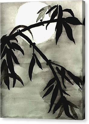 Bamboo In Moonlight - Watercolor Painting Canvas Print by Merton Allen