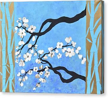 Bamboo Painting Cherry Blossoms Art Oriental Flower Painting Blue Golden Zen Art  Canvas Print