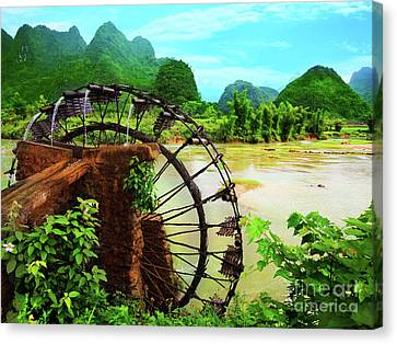 Bamboo Water Wheel Canvas Print by MotHaiBaPhoto Prints