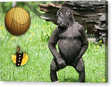 Monkey Canvas Print - Banana Delivery Service by Marvin Blaine