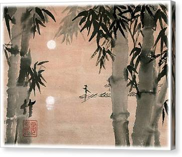 Canvas Print featuring the painting Banboo Village by Ping Yan
