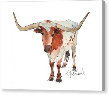 Texas Longhorn Bandero Watercolor Painting By Kmcelwaine Canvas Print