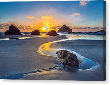 Oregon Coast Canvas Print - Bandon Face Rock by Robert Bynum