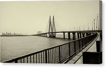 Bandra Worli Sea Link Canvas Print by For me, photographs are a great medium to tell a story. Whe