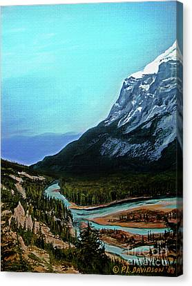 Canvas Print featuring the painting Banff Alberta Rocky Mountain View by Patricia L Davidson