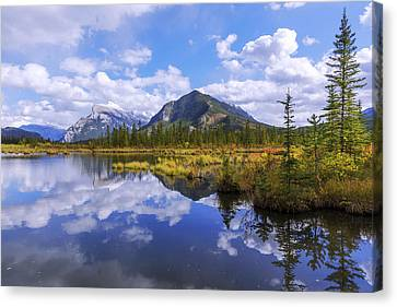 Canvas Print featuring the photograph Banff Reflection by Chad Dutson