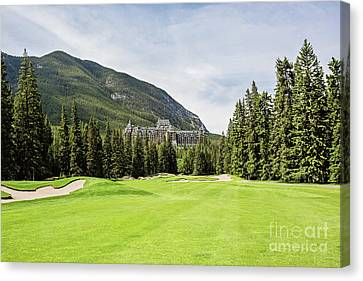 Banff Springs Golf And The Castle Canvas Print by Scott Pellegrin