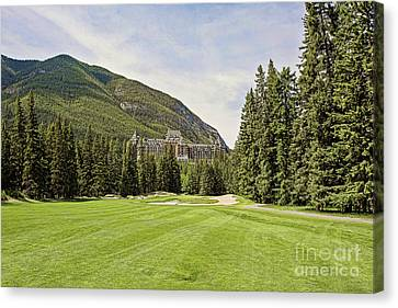 Banff Springs Golf In The Shadow Of The Castle Canvas Print by Scott Pellegrin