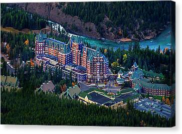 Canvas Print featuring the photograph Banff Springs Hotel by John Poon