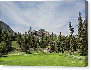 Banff Springs No 15 Fairway And The Castle Canvas Print by Scott Pellegrin