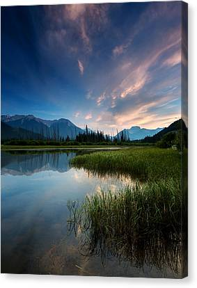 Canadian Marsh Canvas Print - Banff Sunset by Cale Best