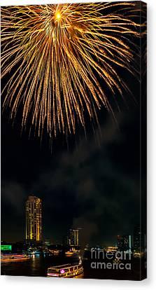 Bangkok Fireworks Canvas Print by Adrian Evans