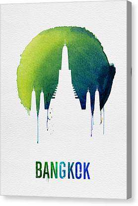 Bangkok Landmark Blue Canvas Print by Naxart Studio