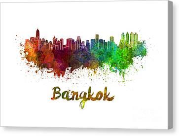 Bangkok Skyline In Watercolor Canvas Print by Pablo Romero