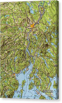 Bangor Maine 1948 Old Map Poster Canvas Print by Pablo Franchi