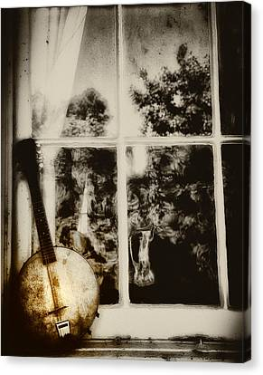 Banjo Mandolin In The Window In Black And White Canvas Print by Bill Cannon