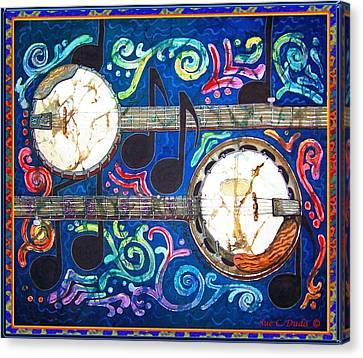 Banjos - Bordered Canvas Print by Sue Duda