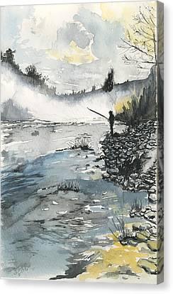 Bank Fishing Canvas Print
