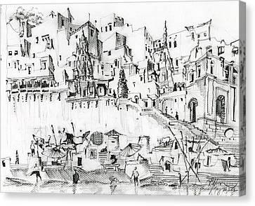 Banks Of Ganges Varanasi India Canvas Print by Aparna Raghunathan
