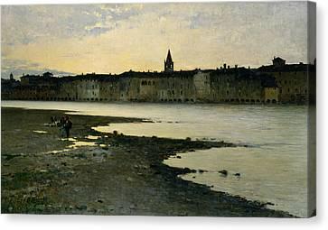 Banks Of River Adige Canvas Print by Bartolomeo Bezzi