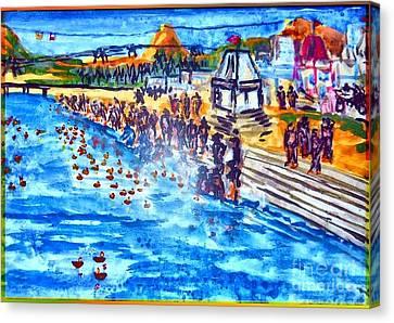 Banks Of The Ganges At Dusk Canvas Print