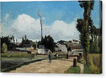Banks Of The Oise At Pontoise Canvas Print by Camille Pissarro