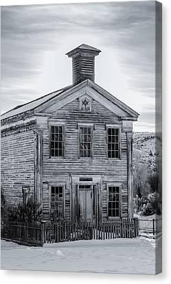 Bannack Schoolhouse And Masonic Temple Monochrome Canvas Print by Teresa Wilson