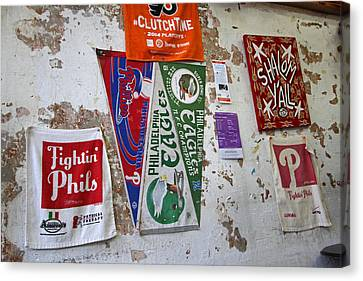 Fightin Phils Canvas Print - Banners Of The Philadelphia Eagles by Juergen Roth
