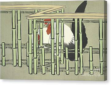 Bamboo Fence Canvas Print - Bantams by Kamisaka Sekka