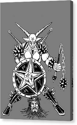 Horror Fantasy Movies Canvas Print - Baphomet Mace Weilder by Alaric Barca