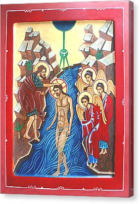 Baptism Of Christ             Theophany Canvas Print by Phillip Schwartz