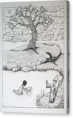Canvas Print featuring the drawing Baptism Of Ted E. Bear by Josean Rivera