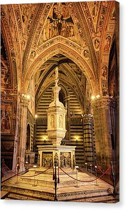 Canvas Print featuring the photograph Baptistery Siena Italy by Joan Carroll