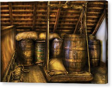Bar - Wine Barrels Canvas Print by Mike Savad