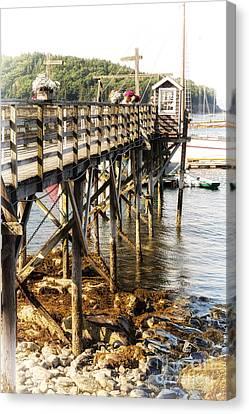 Postcards Canvas Print - Bar Harbor Pier by Jane Rix
