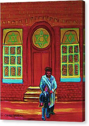 Bar Mitzvah Lesson At The Synagogue Canvas Print by Carole Spandau