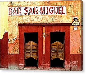 San Miguel De Allende Canvas Print - Bar San Miguel by Mexicolors Art Photography
