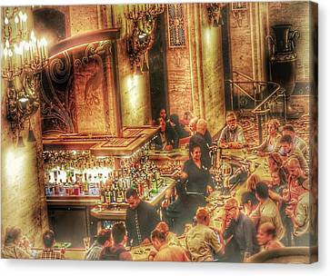 Canvas Print featuring the photograph Bar Scene by Marianne Dow