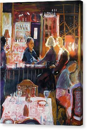 Bar Talk Canvas Print by Gertrude Palmer